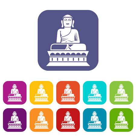 Buddha statue icons set vector illustration in flat style in colors red, blue, green, and other Stock Photo