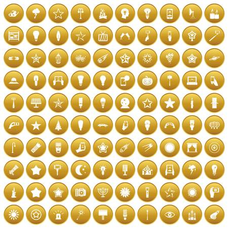 100 light icons set in gold circle isolated on white vector illustration Illustration
