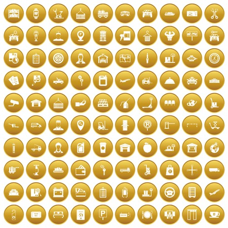 100 loader icons set in gold circle isolated on white vector illustration