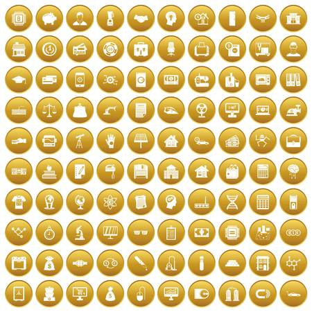 100 loans icons set in gold circle isolated on white vector illustration Illustration