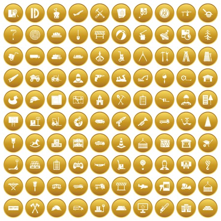 100 lorry icons set in gold circle isolated on white vector illustration