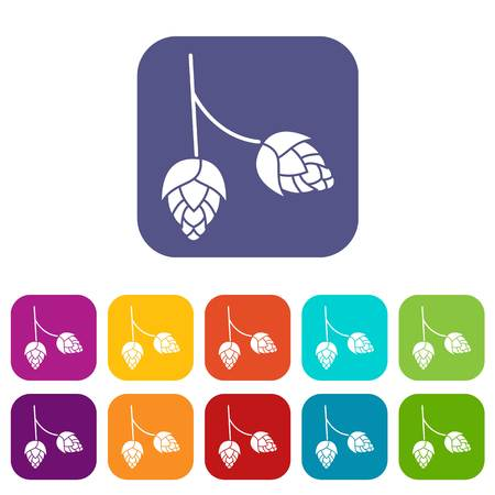 ferment: Branch of hops icons set vector illustration in flat style in colors red, blue, green, and other Illustration