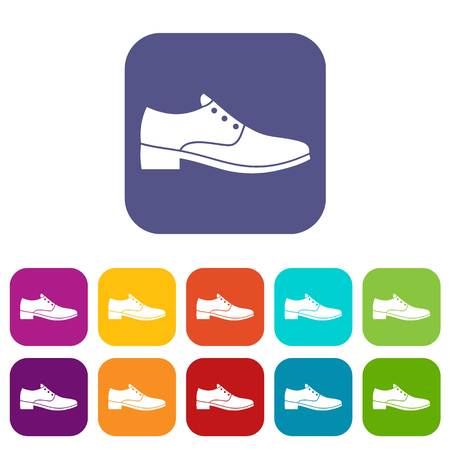 Men shoe icons set vector illustration in flat style in colors red, blue, green, and other