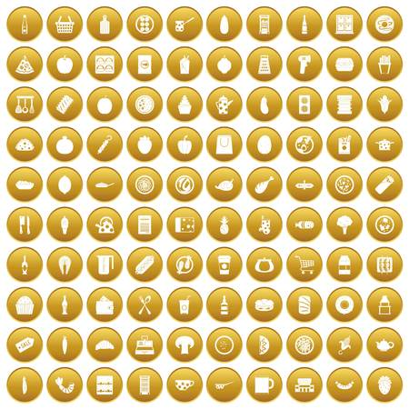 100 lunch icons set gold