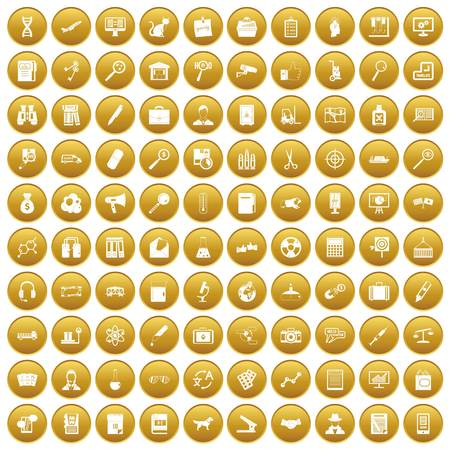 100 magnifier icons set gold