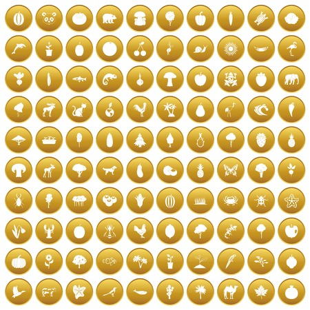 100 live nature icons set gold Illustration