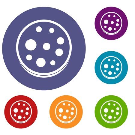 Slice of salami icons set