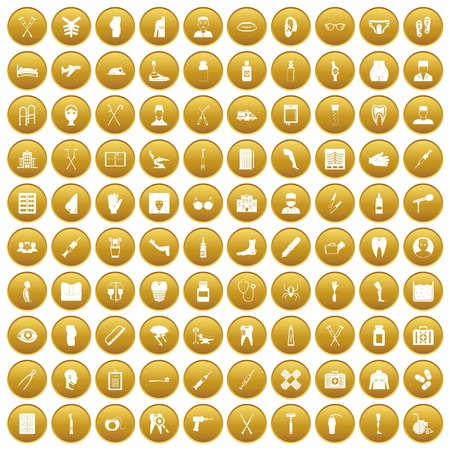 100 medical care icons set gold