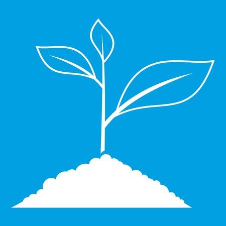 Growing plant icon white