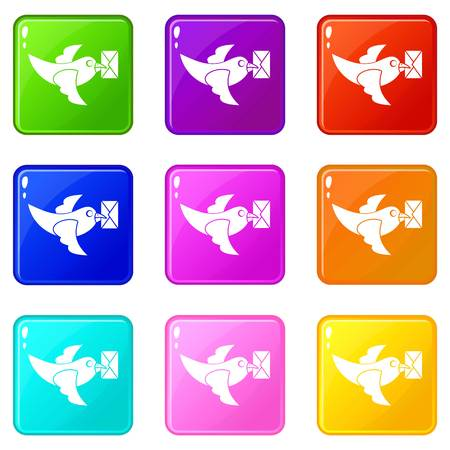 carrier pigeons: Pigeon fly with mail icons of 9 color set isolated vector illustration