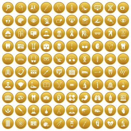 100 medical icons set gold