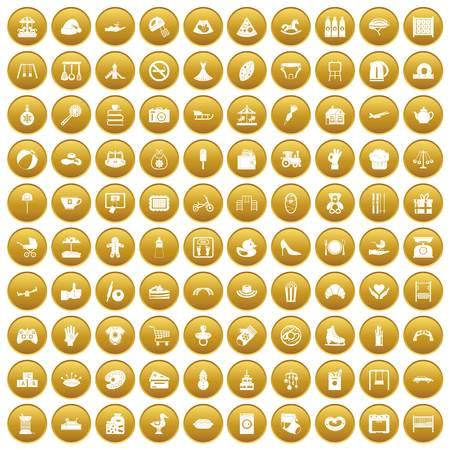 100 icônes mère et enfant ensemble or