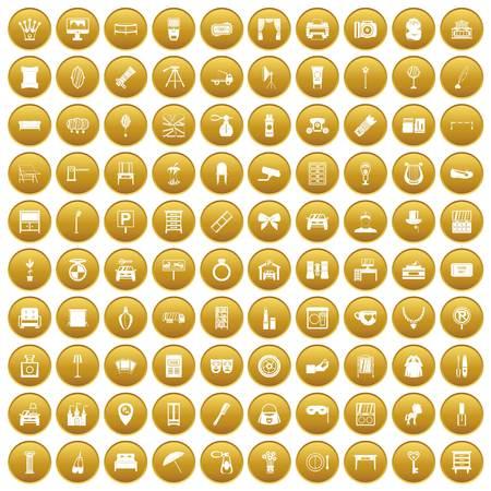 100 mirror icons set gold