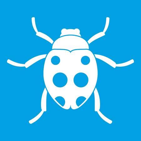 Ladybug icon white isolated on blue background vector illustration