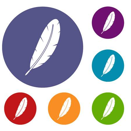 poet: Feather pen icons set in flat circle red, blue and green color for web