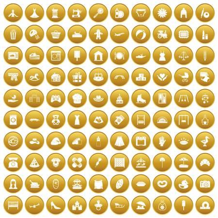 100 motherhood icons set gold