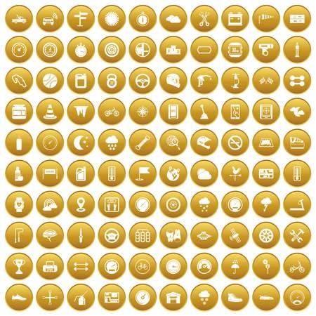100 motorsport icons set gold