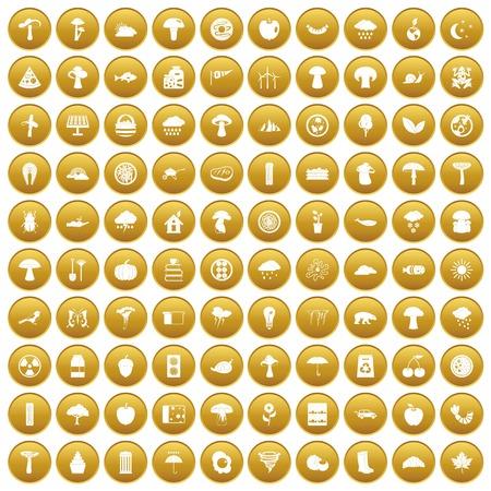 100 mushrooms icons set gold
