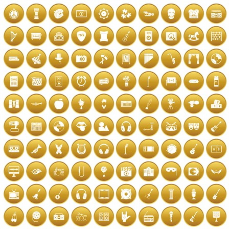 100 musical education icons set gold