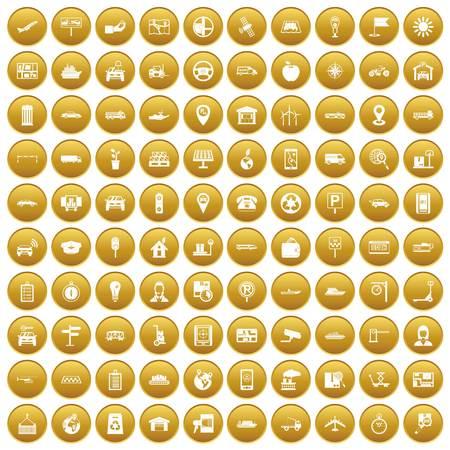 100 navigation icons set gold