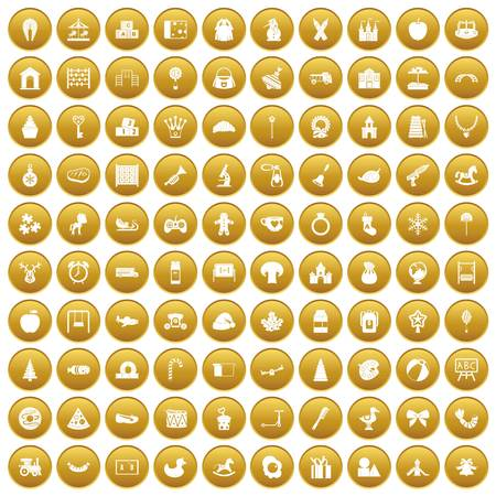 100 nursery school icons set in gold circle isolated on white vector illustration
