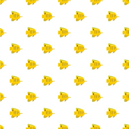 Yellow fish pattern seamless repeat in cartoon style vector illustration Stock Vector - 82768115