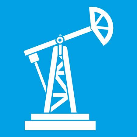 natural gas production: Oil rig icon white isolated on blue background vector illustration