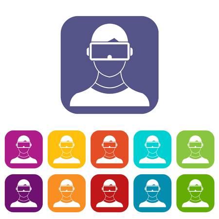Virtual 3d reality goggles icons set