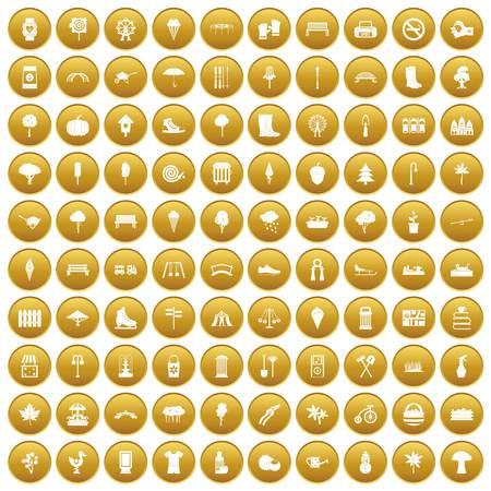 100 park icons set gold