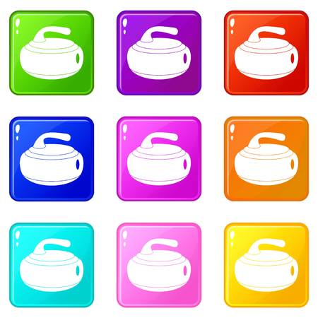 sliding colors: Curling stone icons of 9 color set isolated vector illustration Illustration