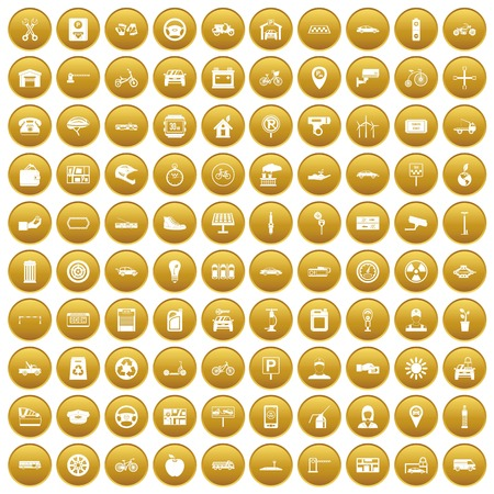 100 parking icons set in gold circle isolated on white vector illustration