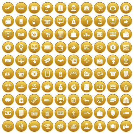 100 payment icons set in gold circle isolated on white vector illustration Illustration