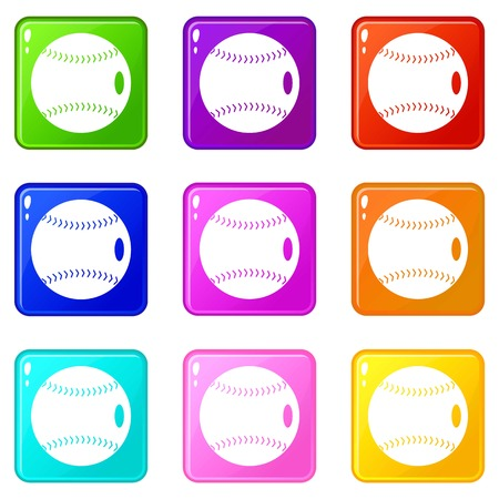 Baseball ball icons of 9 color set isolated vector illustration Ilustração