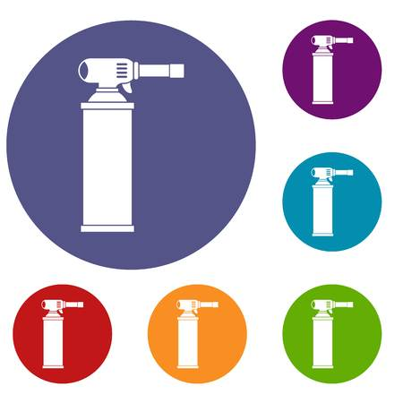 Gas cylinder icons set in flat circle red, blue and green color for web Illustration