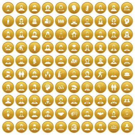 100 mensenpictogrammen geplaatst goud Stock Illustratie
