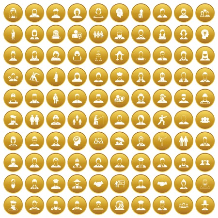 100 people icons set gold