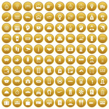 100 paying money icons set in gold circle isolated on white vector illustration Illustration