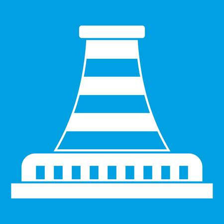 drill: Refinery with pipe icon white isolated on blue background vector illustration