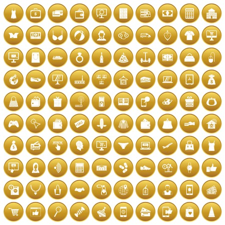 gift basket: 100 online shopping icons set in gold circle isolated on white vector illustration Illustration
