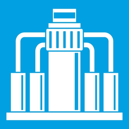 drill: Oil refining icon white isolated on blue background vector illustration