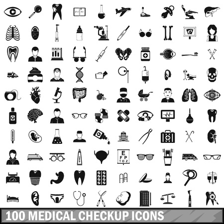 100 medical checkup icons set, simple style