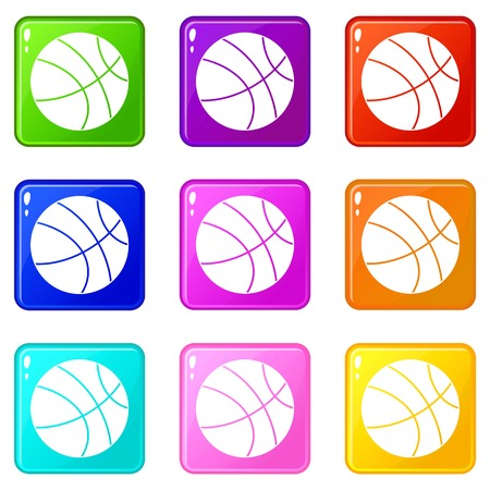 Basketball ball icons of 9 color set isolated vector illustration 向量圖像