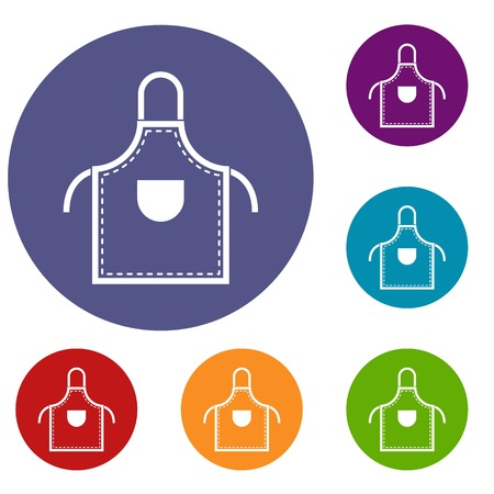 Welding apron icons set in flat circle red, blue and green color for web