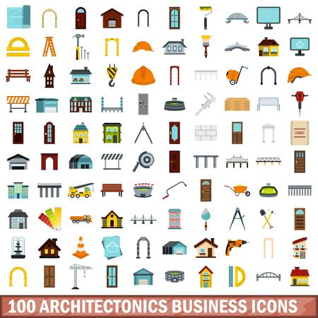 drill: 100 architectonics business icons set, flat style