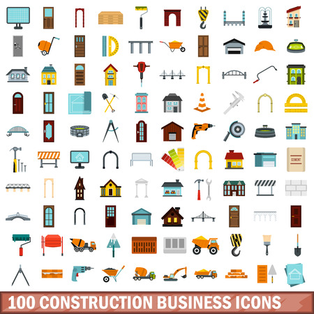 drill: 100 construction business icons set, flat style