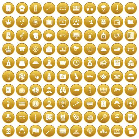100 police icons set gold Illustration