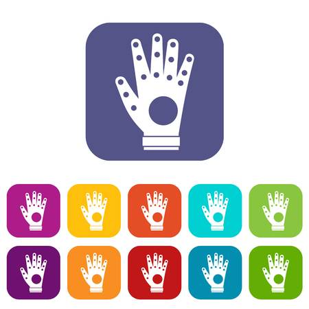 hand touch: Electronic glove icons set vector illustration in flat style in colors red, blue, green, and other Illustration