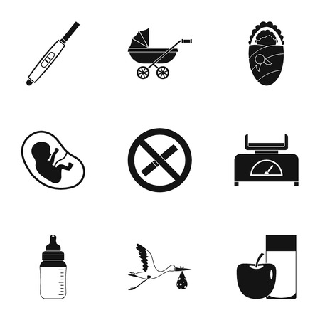 babby: Baby ambulance icons set. Simple set of 9 baby ambulance vector icons for web isolated on white background