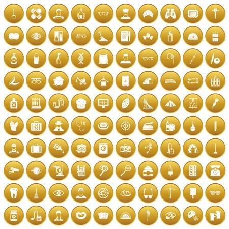 100 profession icons set gold