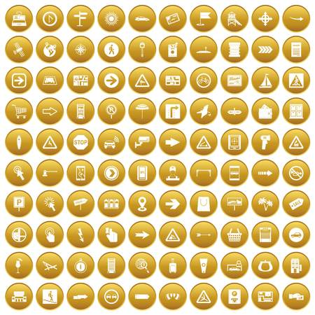 100 pointers icons set gold Illustration